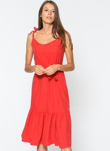 Loves You Askılı Eteği Volanlı Tensel Elbise Kırmızı